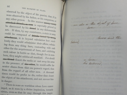 Mary Shelley's handwritten restorations of Percy Shelley's original words, in her printed copy of his prose works.