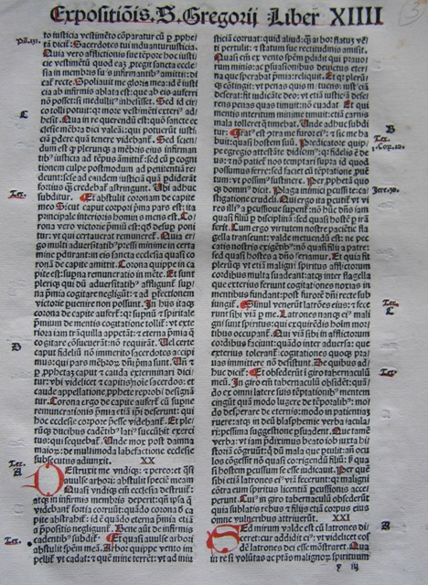 Gregory the Great's Moralia in Job, printed by Kesler in Basel in 1496