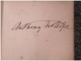 Signature of Anthony Trollope from a map of Paris (1839)